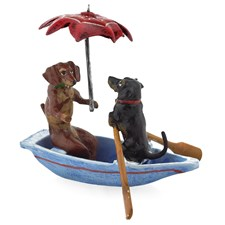 Austrian Bronze Dachshunds in Boat Figurine