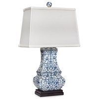 Blue & White Porcelain Flat Jar Lamp