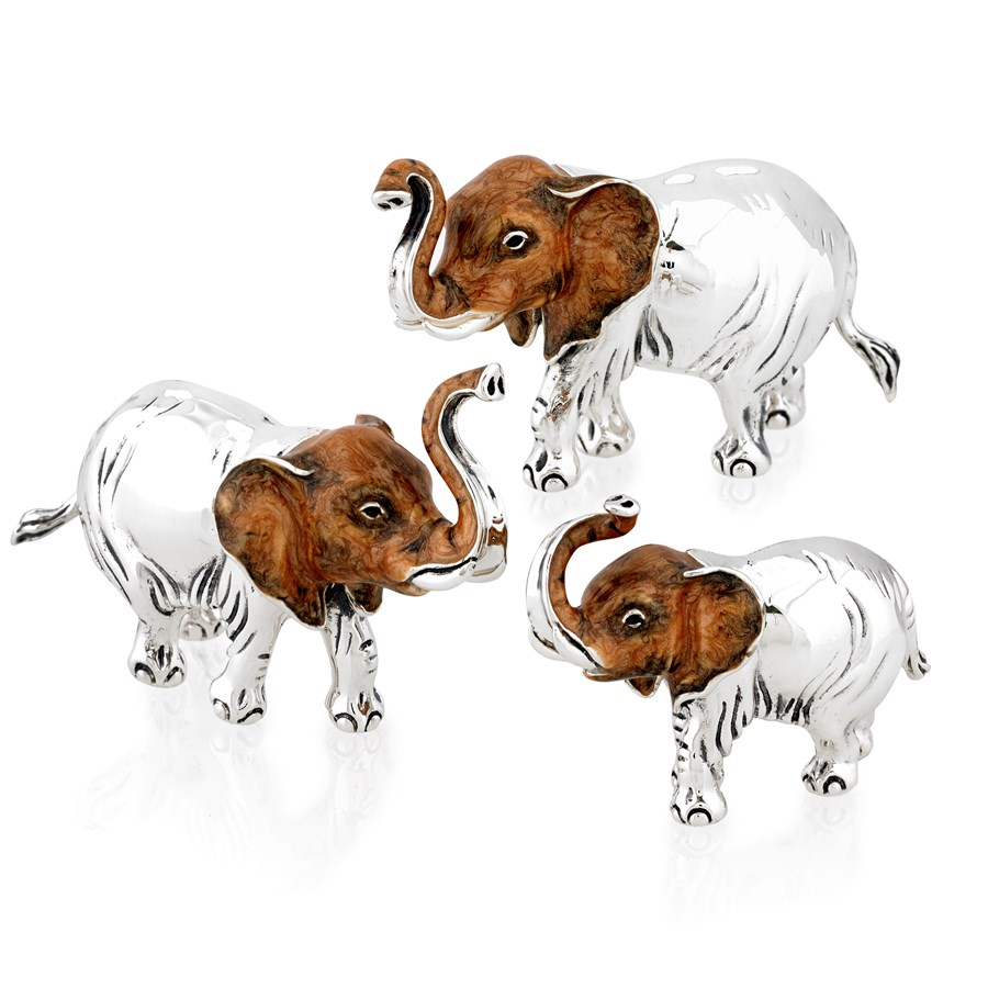 Sterling silver elephant family ornaments new home decor new arrivals new arrivals Silver elephant home decor