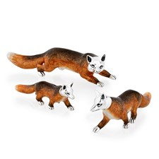 Sterling Silver Fox Family Figurines