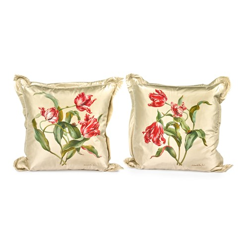 Handpainted Three Tulips Large Silk Pillows