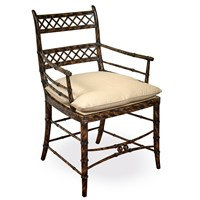 Mahogany and Faux Tortoiseshell Bamboo Chair