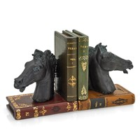 Leather Bookends with Horse Heads