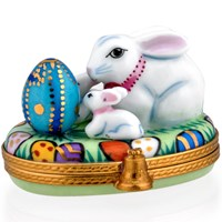 Bunny with Egg & Babies Limoges Box