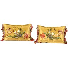 Tulips & Butterflies Handpainted Pillows, Gold