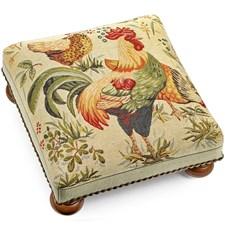 Roosters and Hen Tapestry Footstool