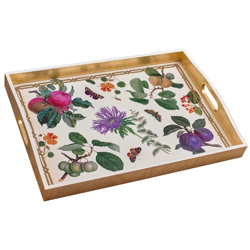 Graphic Tray Handcrafted From Ivory And: Decoupage Garden Ivory Tray Large