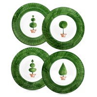 Topiary Plates with Green Borders, Sets of 4