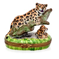 Panther with Cub Limoges Box