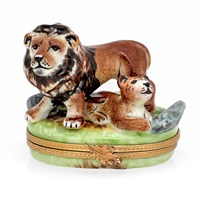 Lion with Cub Limoges Box