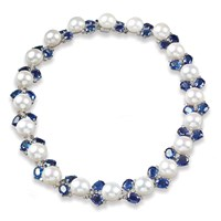 Pearl Necklace with Kyanite and Diamonds