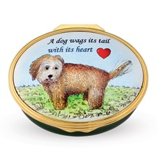 Halcyon Days A Dog Wags Its Tail Enamel Box