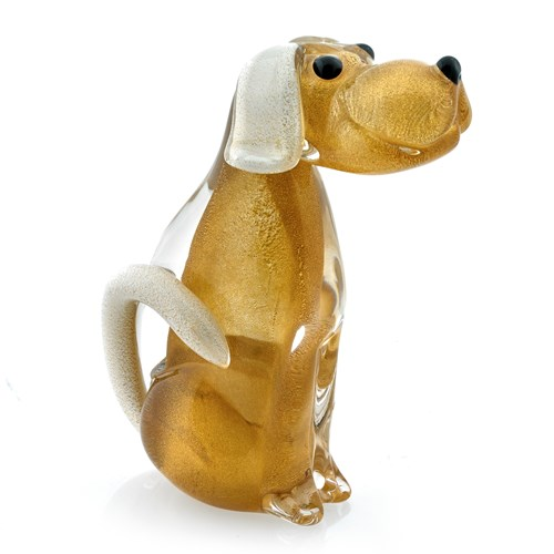 Crystal Dog Sculpture, Amber & Gold