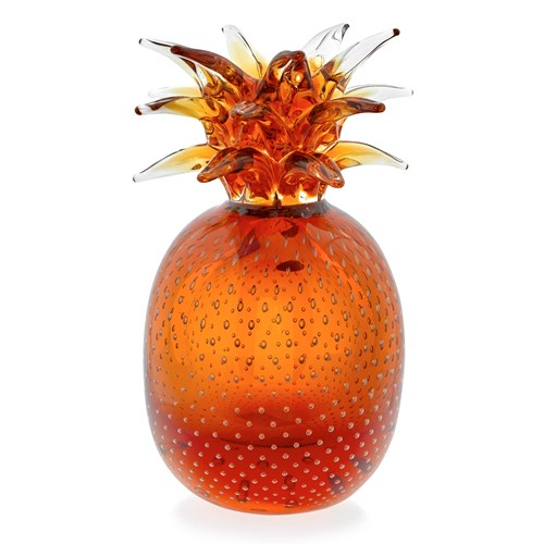 Crystal Pineapple Sculpture, Amber