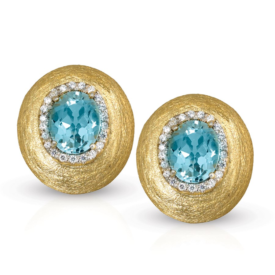 white topaz earrings gold blue