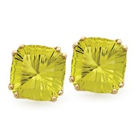 Square Fantasy Cut Earrings, Lemon Quartz