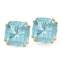 Square Fantasy Cut Earrings, Blue Topaz
