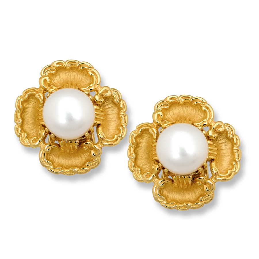 Gold Pearl Flower Earrings Hover To Zoom