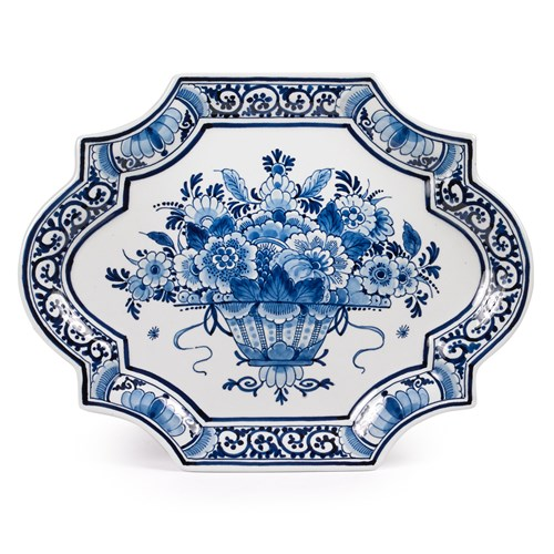Blue Royal Delft Ceramic Flower Basket Plate