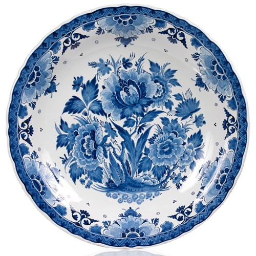 Blue Royal Delft Ceramic Plate with Flowers
