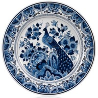 Blue Royal Delft Ceramic Plate with Bird