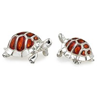 Sterling Silver Turtle Couple Sculptures, Pair