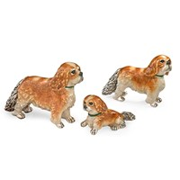 Sterling Silver Cavalier King Charles Spaniel Family, Set of 3