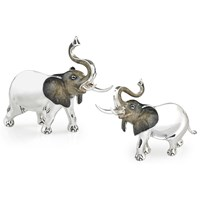 Sterling Silver Elephant Couple Sculptures