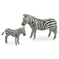 Sterling Silver Zebra Couple Sculptures