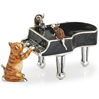 Sterling Silver Cat with with Piano & Mice Sculpture