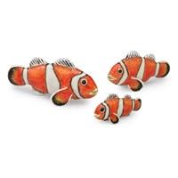 Sterling Silver Clownfish Sculptures, Set of 3
