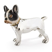 Sterling Silver & Enamel French Bulldog Sculpture