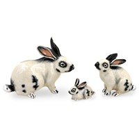 Sterling Silver White Rabbit Family, Set of 3