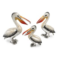 Sterling Silver Pelican Family Sculptures, Set of 3