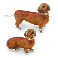 Sterling Silver Dachshund Couple, Pair
