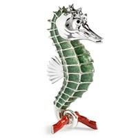 Sterling Silver Seahorse, Green