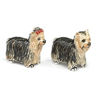 Sterling Silver Yorkie Couple, Pair