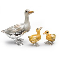 Sterling Silver Mother Duck & Ducklings, Set of 3