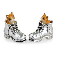 Sterling Silver Cats in Boots Sculptures
