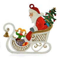 Pewter Santa in Sled Ornament
