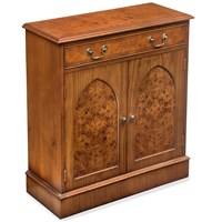 Burr Walnut Gothic Cupboard, One Drawer