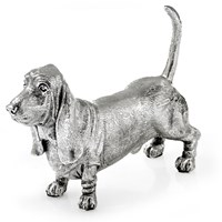 Sterling Silver Basset Hound Sculpture