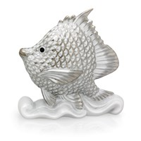 Herend Fish on Rock Platinum Figurine