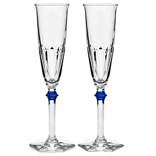 Baccarat Harcourt Eve Flutes with Blue Knobs, Set of 2