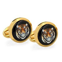 Tiger Head Gold Cufflinks