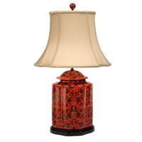 Scalloped Red Floral Lamp