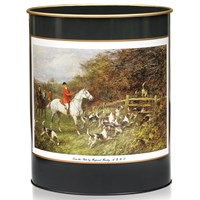 Hunt Scene Wastebasket, Green