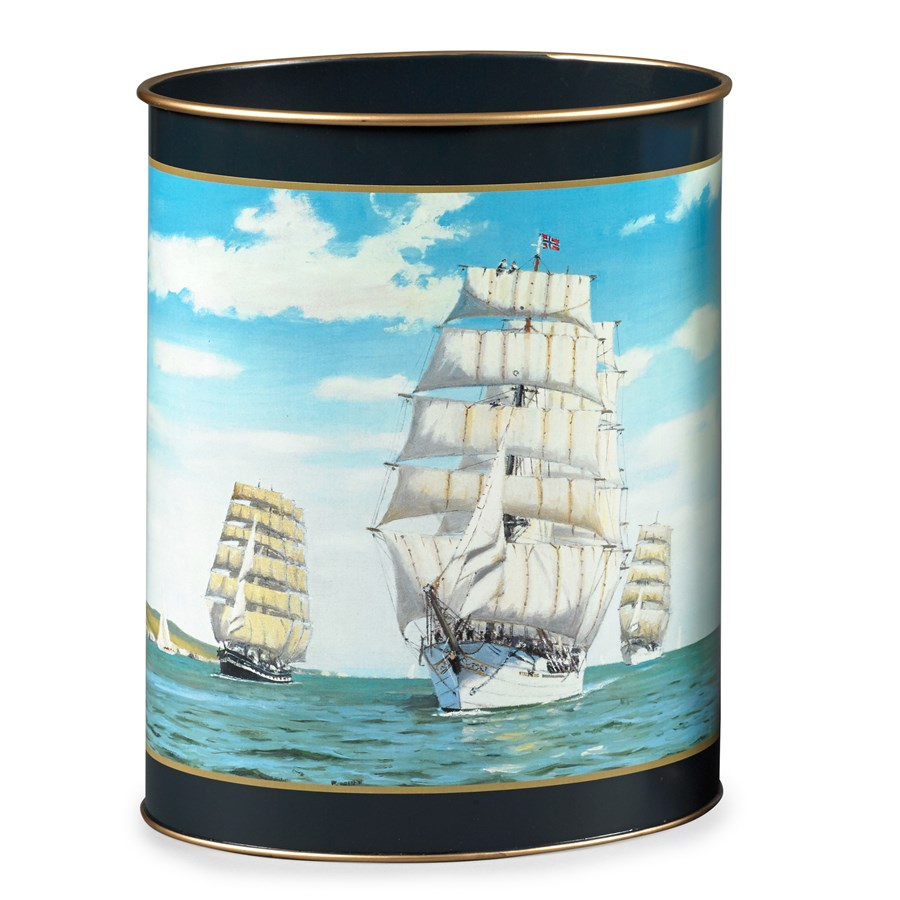 Tall ships wastebasket wastebaskets home decor for Ship decor home