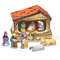 Limoges Nativity Manger with Eight Removable Pieces