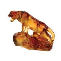 Daum Pate De Verre Tiger on Rock